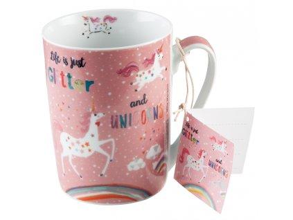Hrnek Glitter&Unicorns PFIFF, růžový