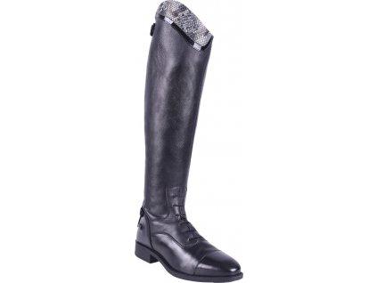 Boty jezdecké Birgit Snake QHP, vysoké, širší lýtko, dámské, černé