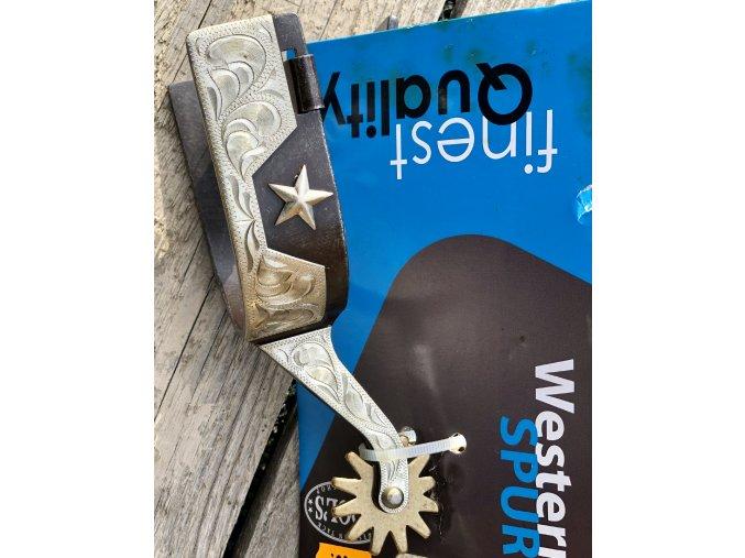 Westernové ostruhy stříbrnočerné