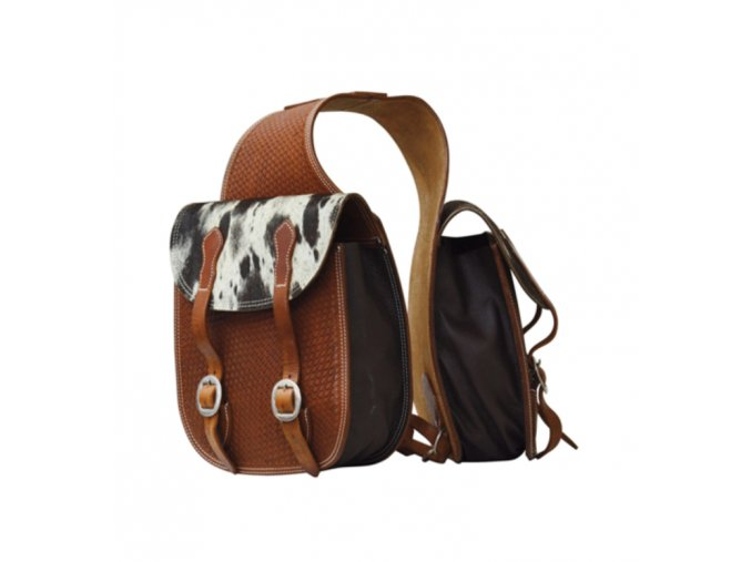 LAKOTA SADDLEBAG WITH BASKET TOOLING AND HORSEHAIR PAR
