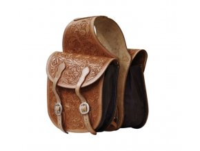 POOL'S LEATHER SADDLE BAG FLOWERS