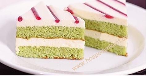 Biskvit zelený čaj - malinové řezy