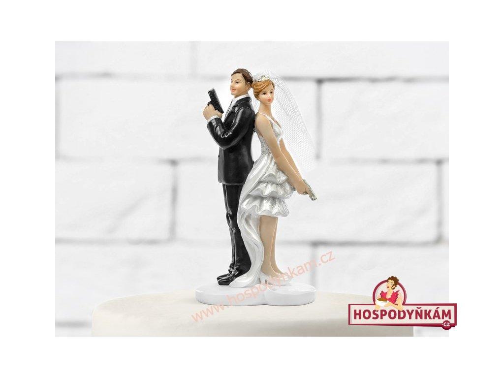 Figurka na dort - nevěsta a ženich tajní agenti