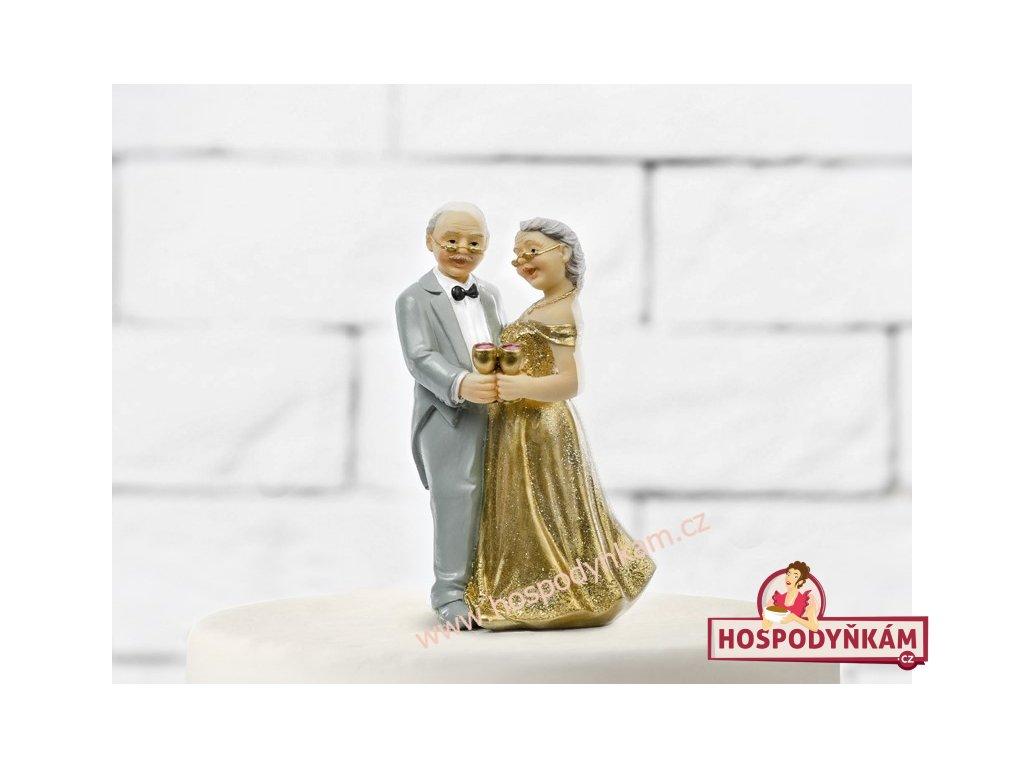 Figurka na dort - nevěsta a ženich zlatá svatba