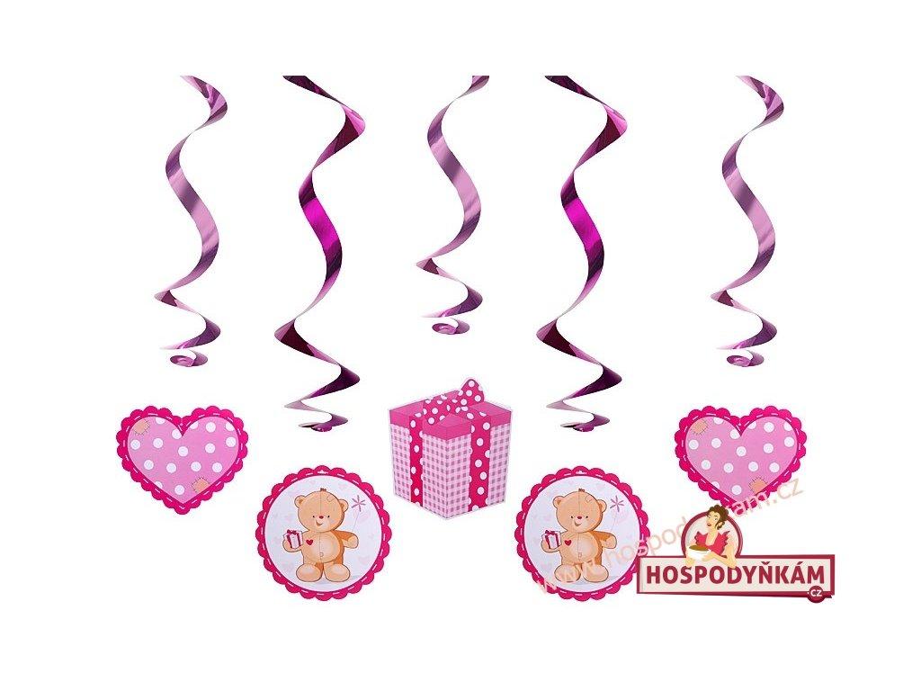 Spirálová dekorace medvídek růžový