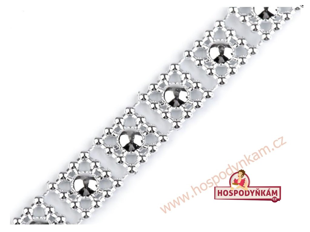 Ozdobný pás na dort stříbrné perly (3m)