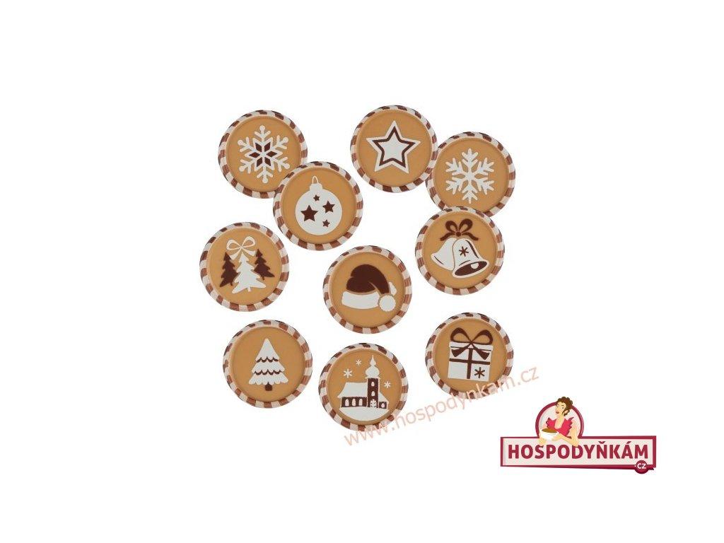 Čokoládová dekorace karamelové Vánoce 10ks