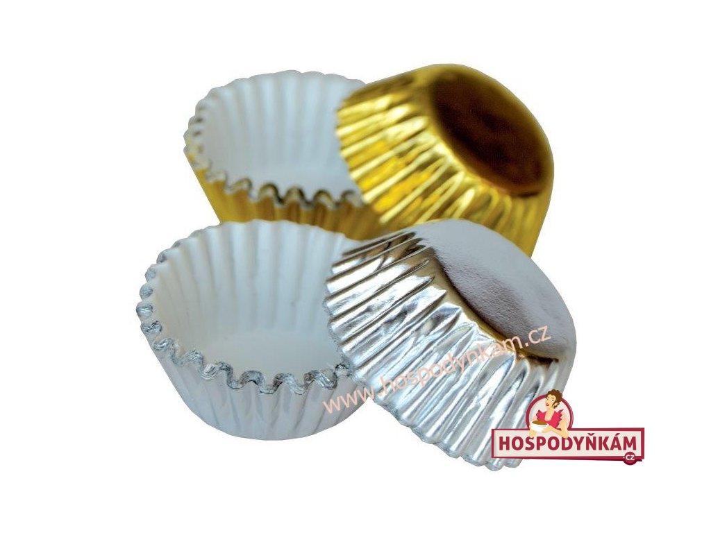 Hliníkové košíčky na pralinky zlaté, stříbrné