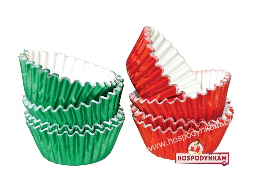Hliníkové košíčky na pralinky červené, zelené