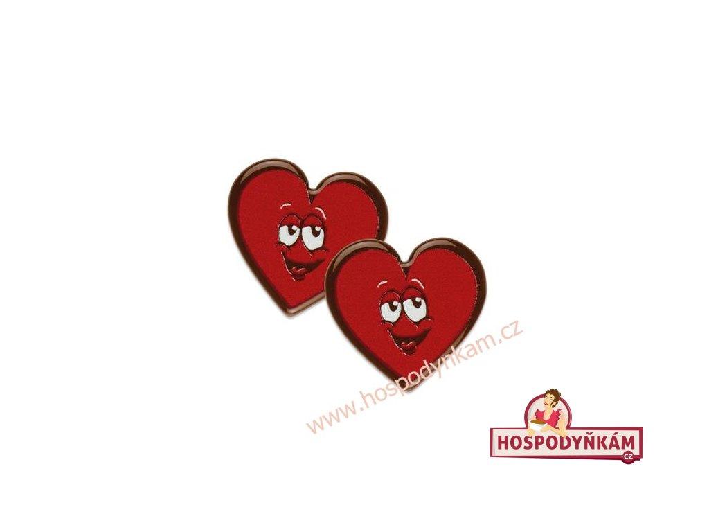 Čokoládová dekorace srdce 10ks