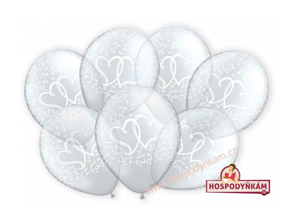 Balónky transparentní s bílými srdíčky 7ks