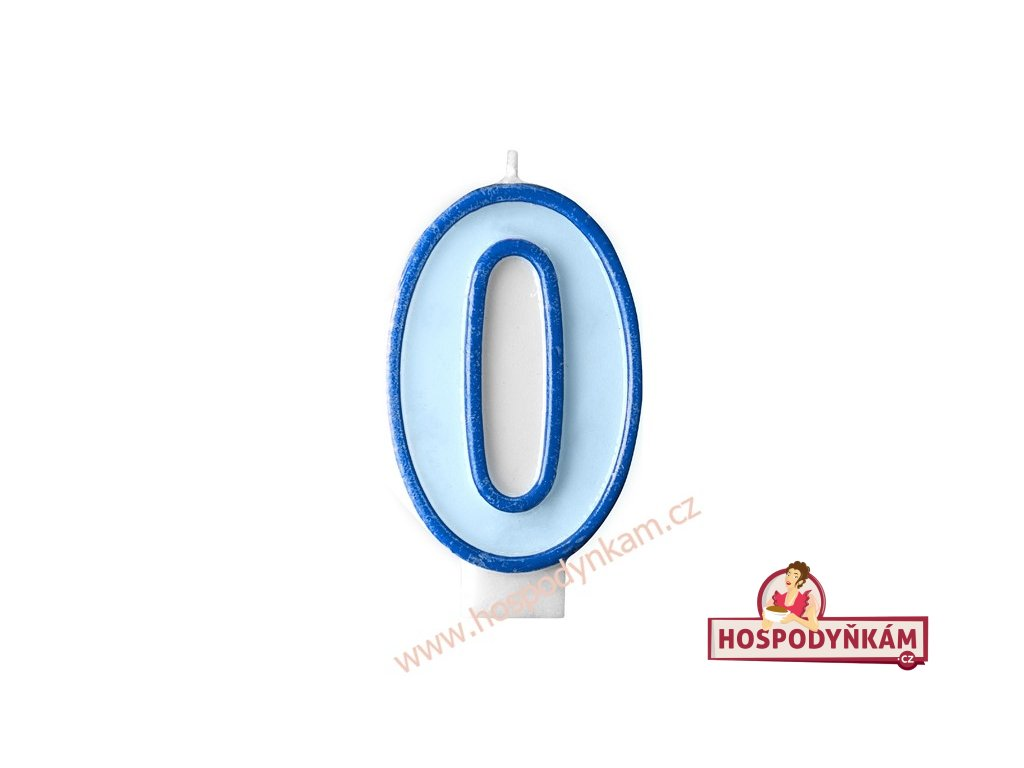 Dortová svíčka číslice modrá 0