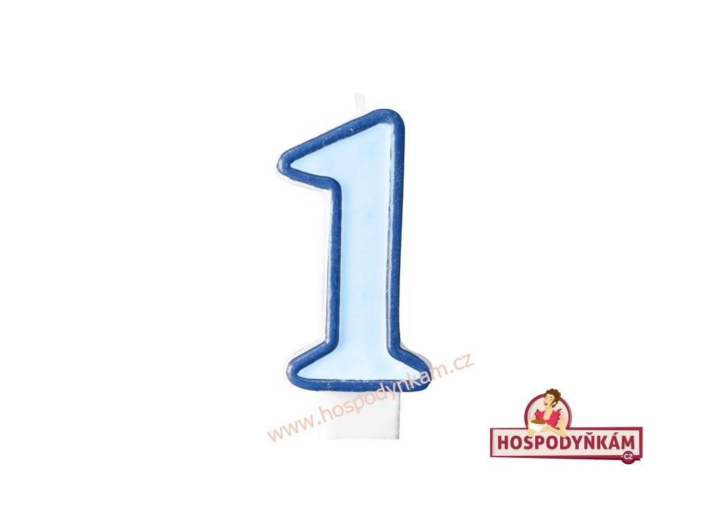Dortová svíčka číslice modrá 1
