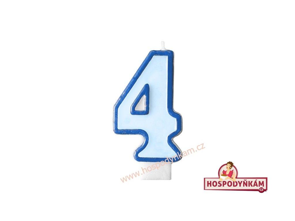 Dortová svíčka číslice modrá 4