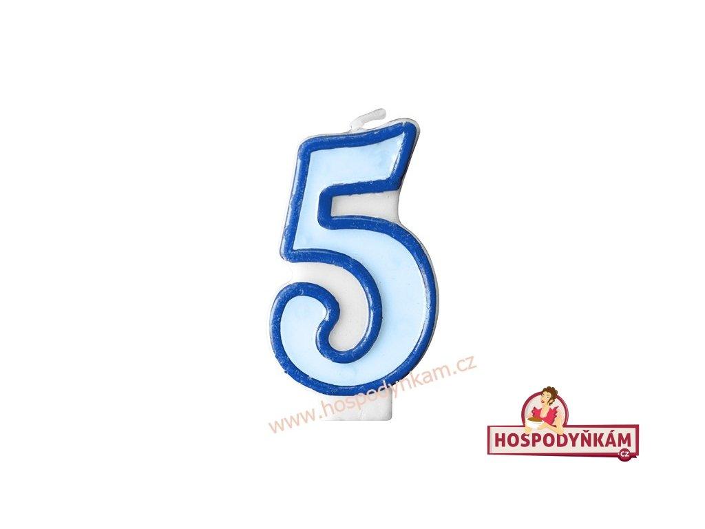 Dortová svíčka číslice modrá 5