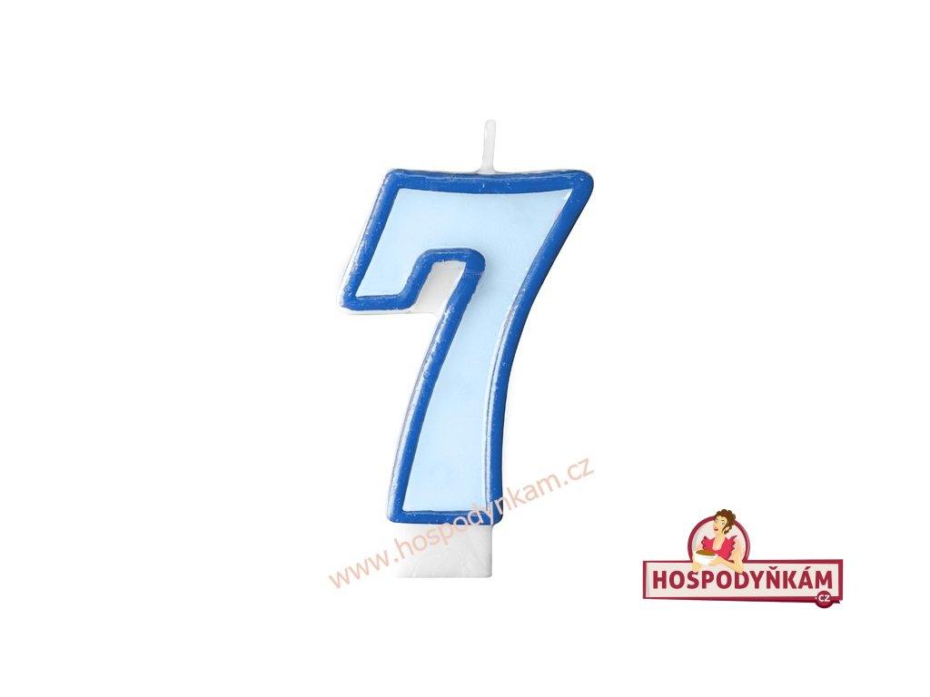Dortová svíčka číslice modrá 7