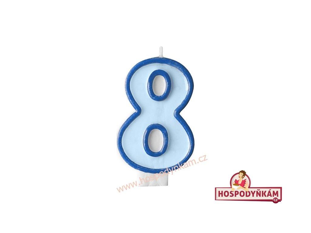 Dortová svíčka číslice modrá 8