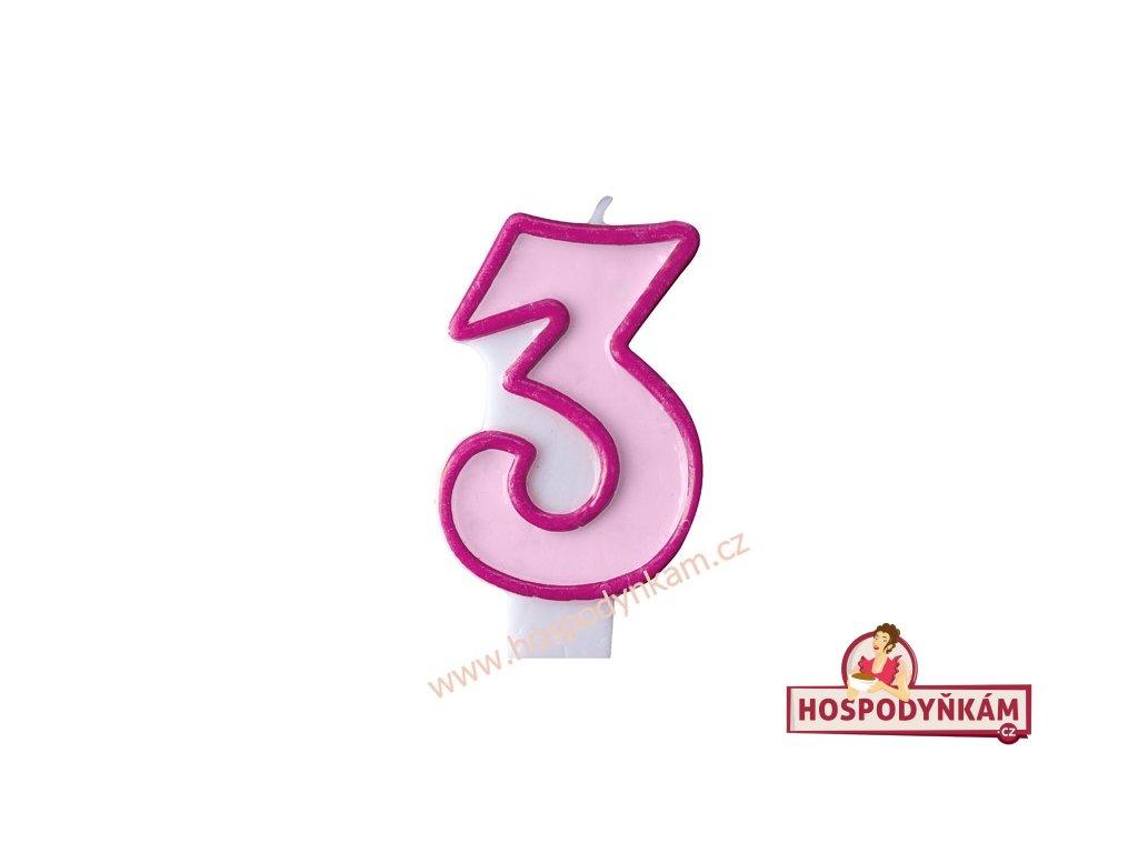 Dortová svíčka číslice růžová 3