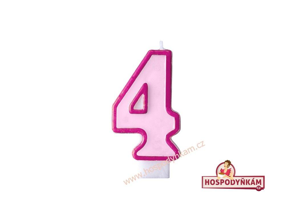 Dortová svíčka číslice růžová 4