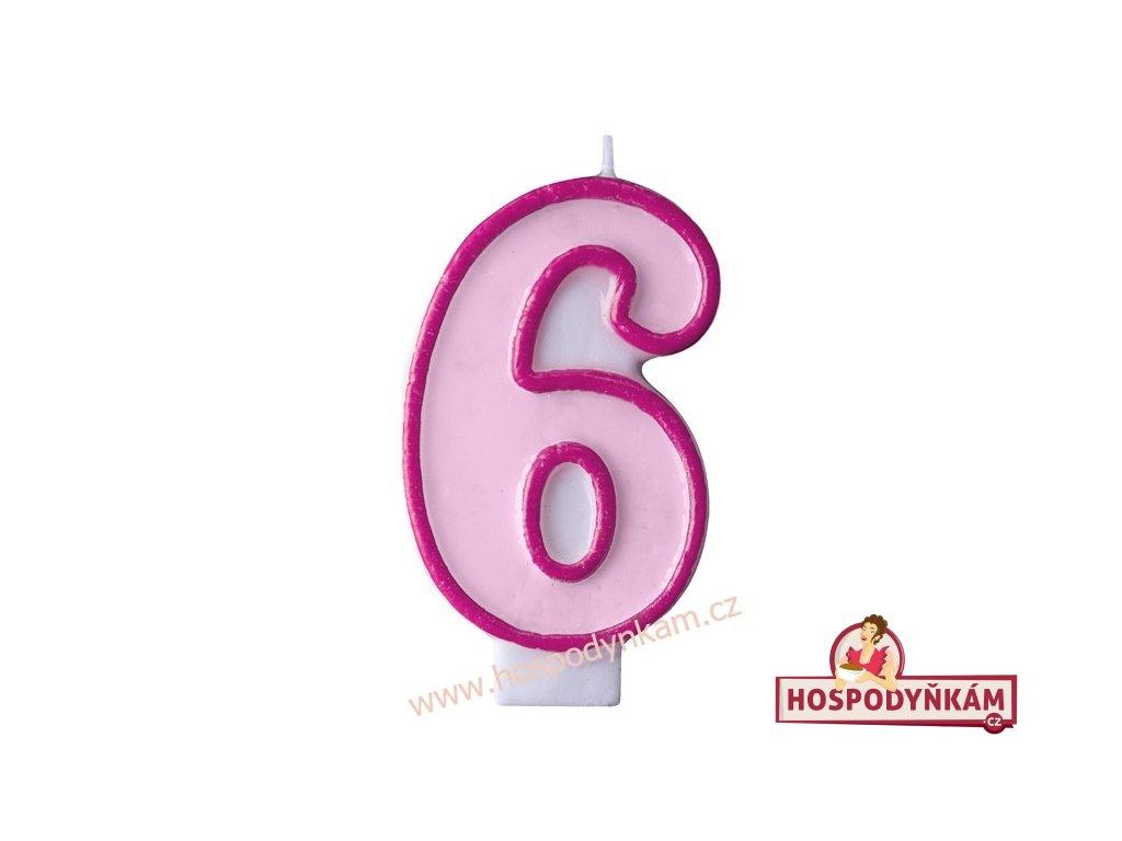 Dortová svíčka číslice růžová 6