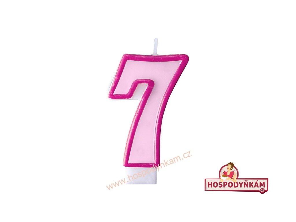 Dortová svíčka číslice růžová 7
