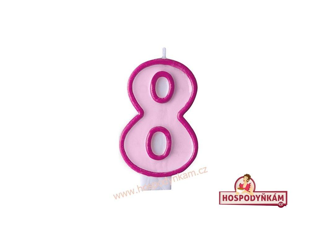 Dortová svíčka číslice růžová 8