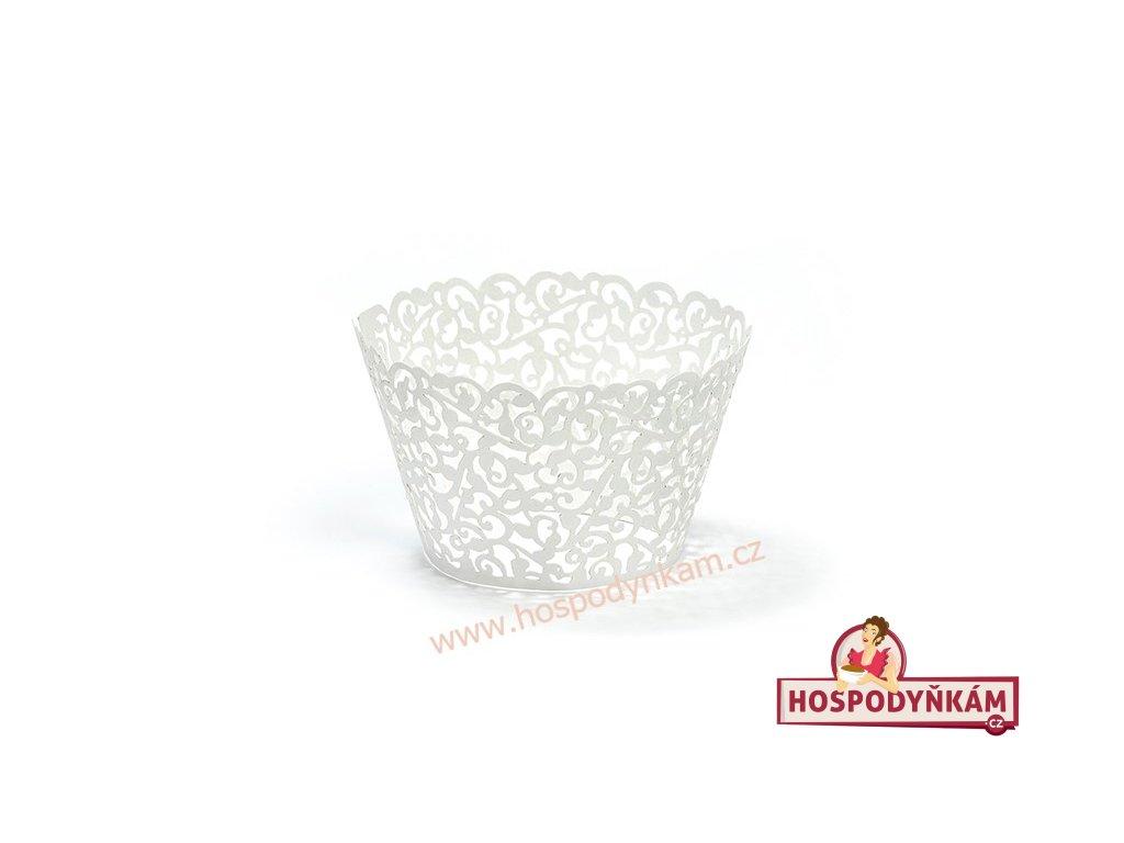 Krajkový košíček na muffiny bílý 10ks