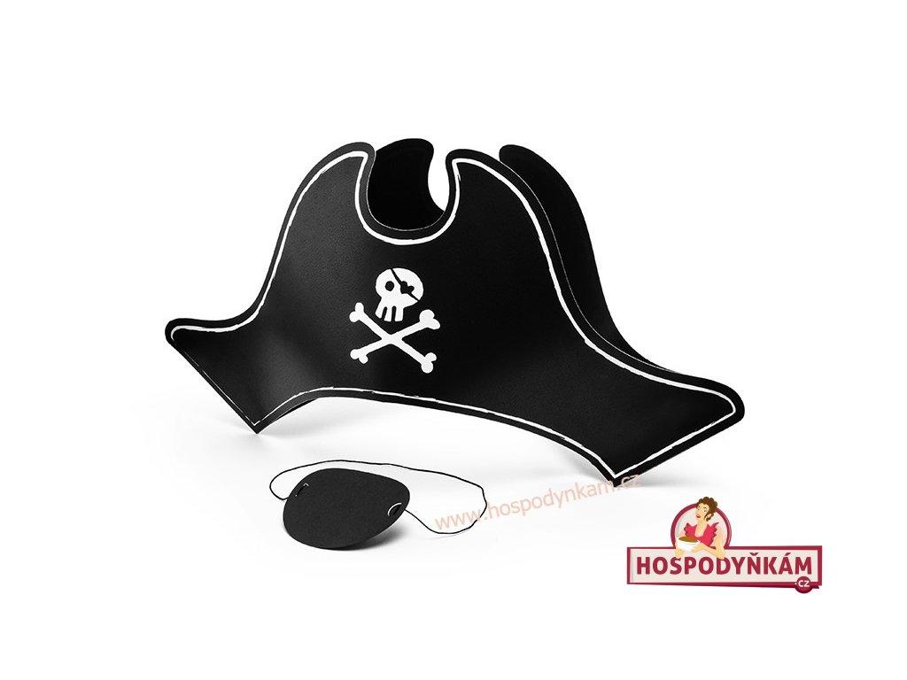 Pirátská čepice s páskou na oko