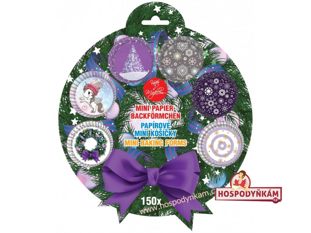 Cukrářské košíčky mini Fialové Vánoce 150ks