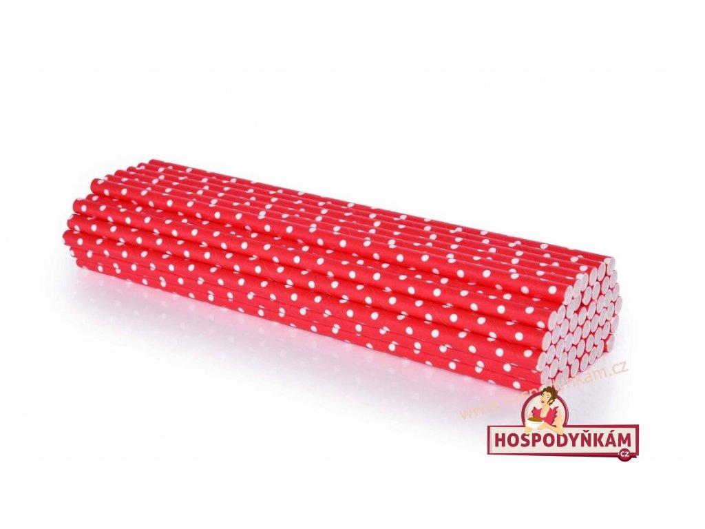Papírová brčka červená, bílý puntík