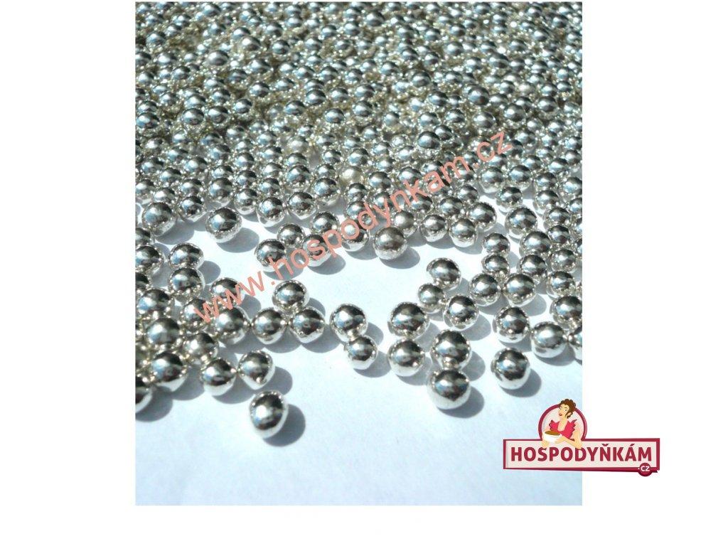 Cukrové zdobení - perličky stříbrné 50g