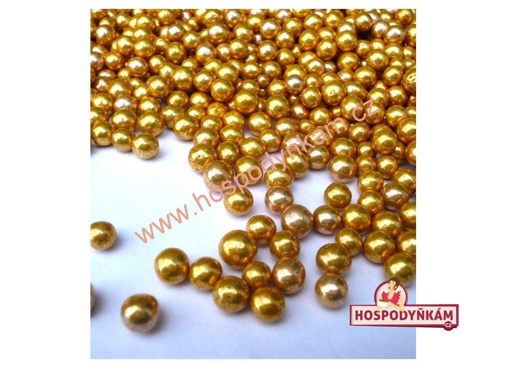 Cukrové zdobení - perličky zlaté 50g