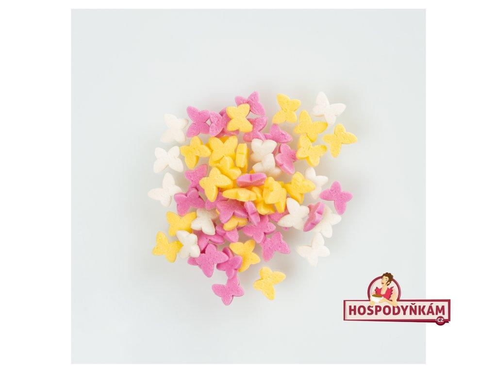 Cukrové zdobení barevní motýli 30g