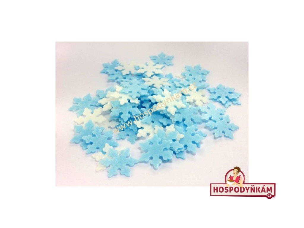 Vločky z jedlého papíru bílo-modré 50ks
