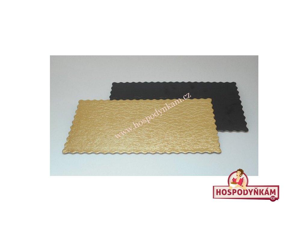 Tác na dort kartonový zlato-černý 30x40cm