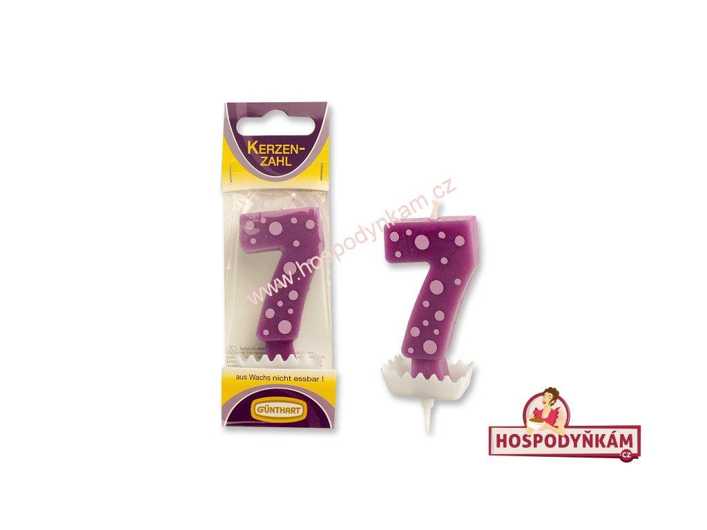 Dortová svíčka číslice 7, barevná