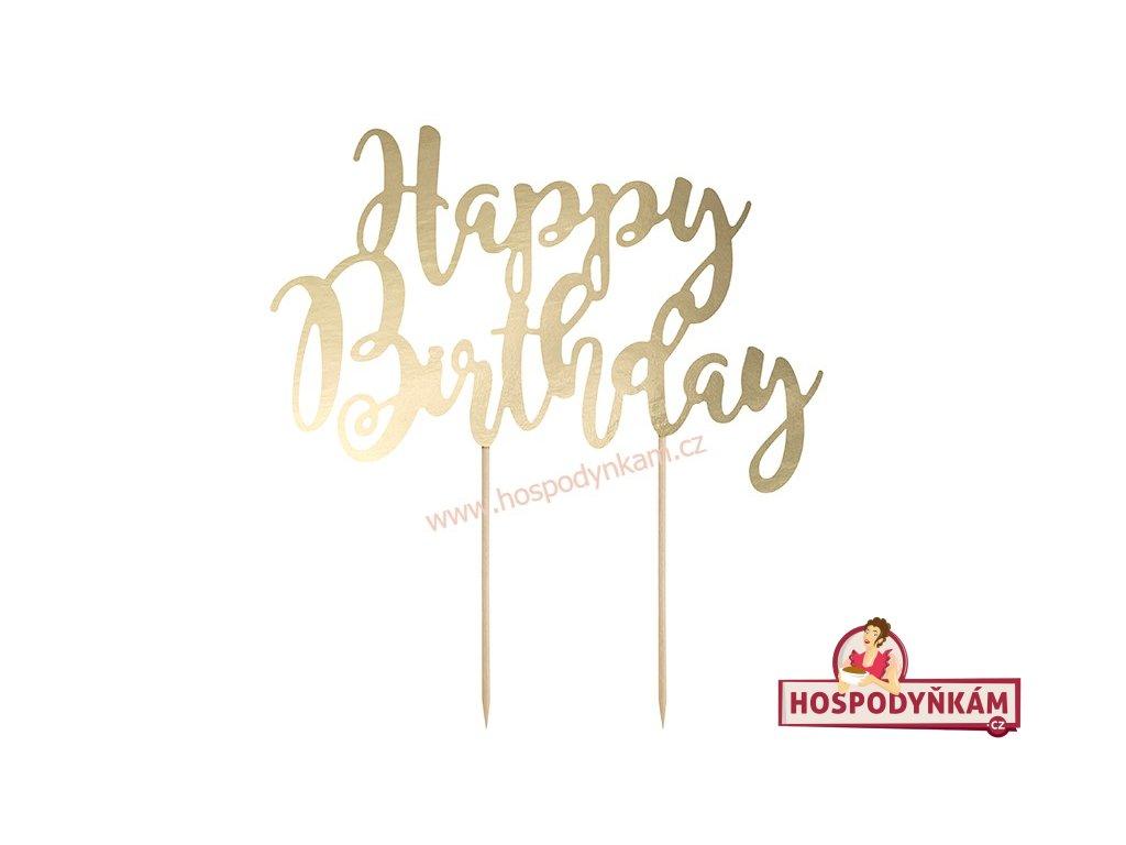 Zapichovací dekorace Happy Birthday zlatá