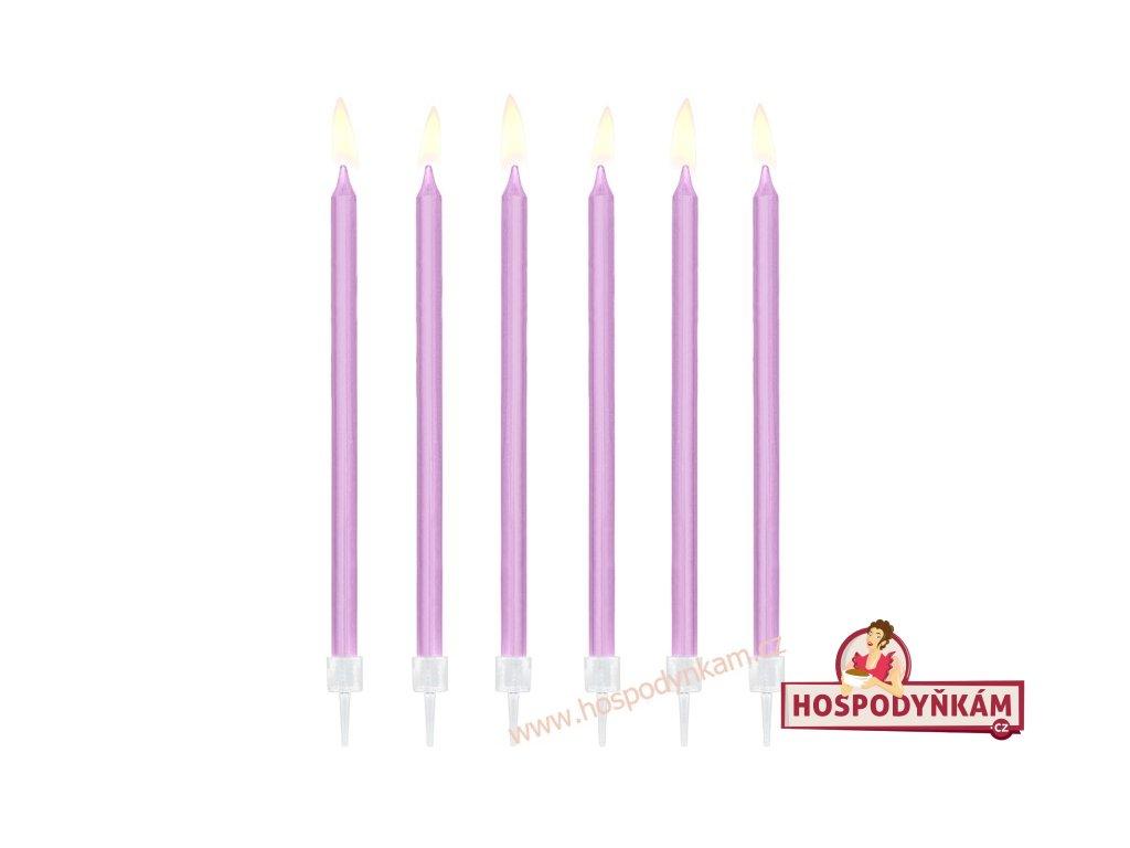 Dortové svíčky dlouhé fialové 12ks