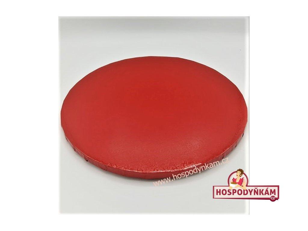 Kartonový tác červený kruh 30 cm