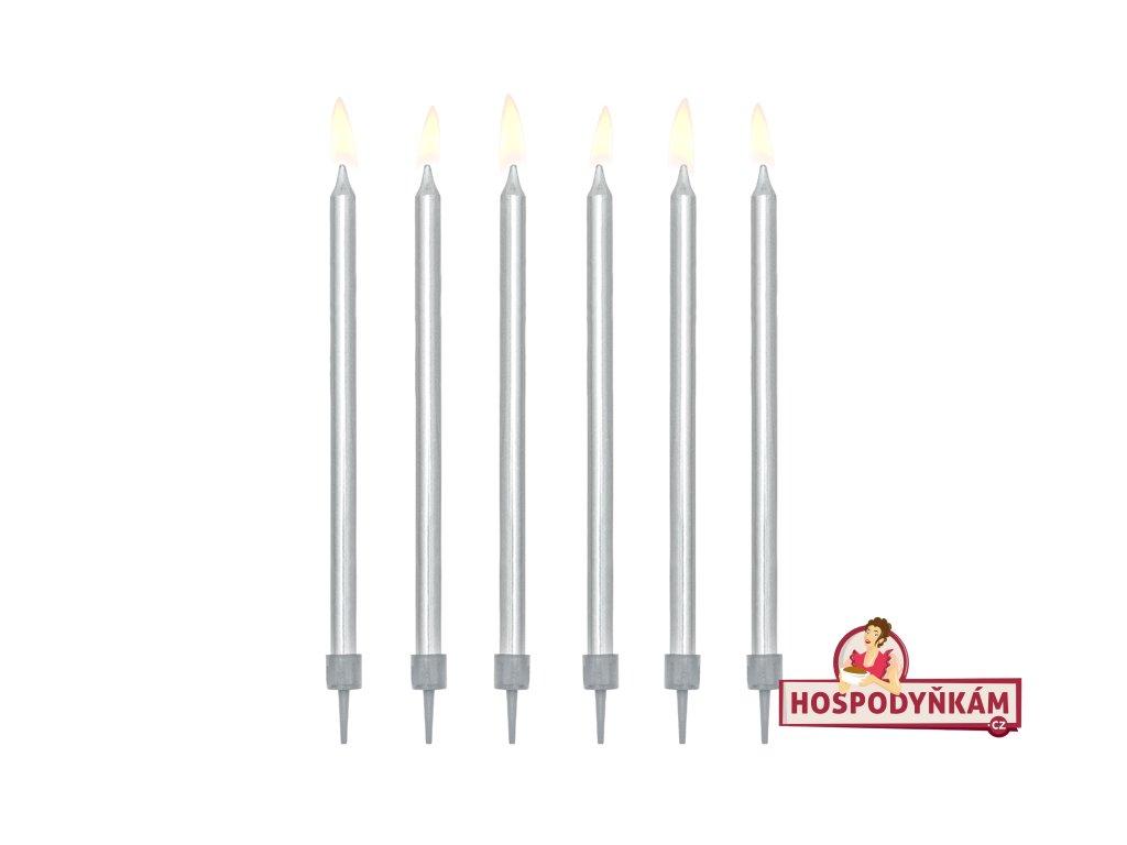 Dortové svíčky dlouhé stříbrné 12ks