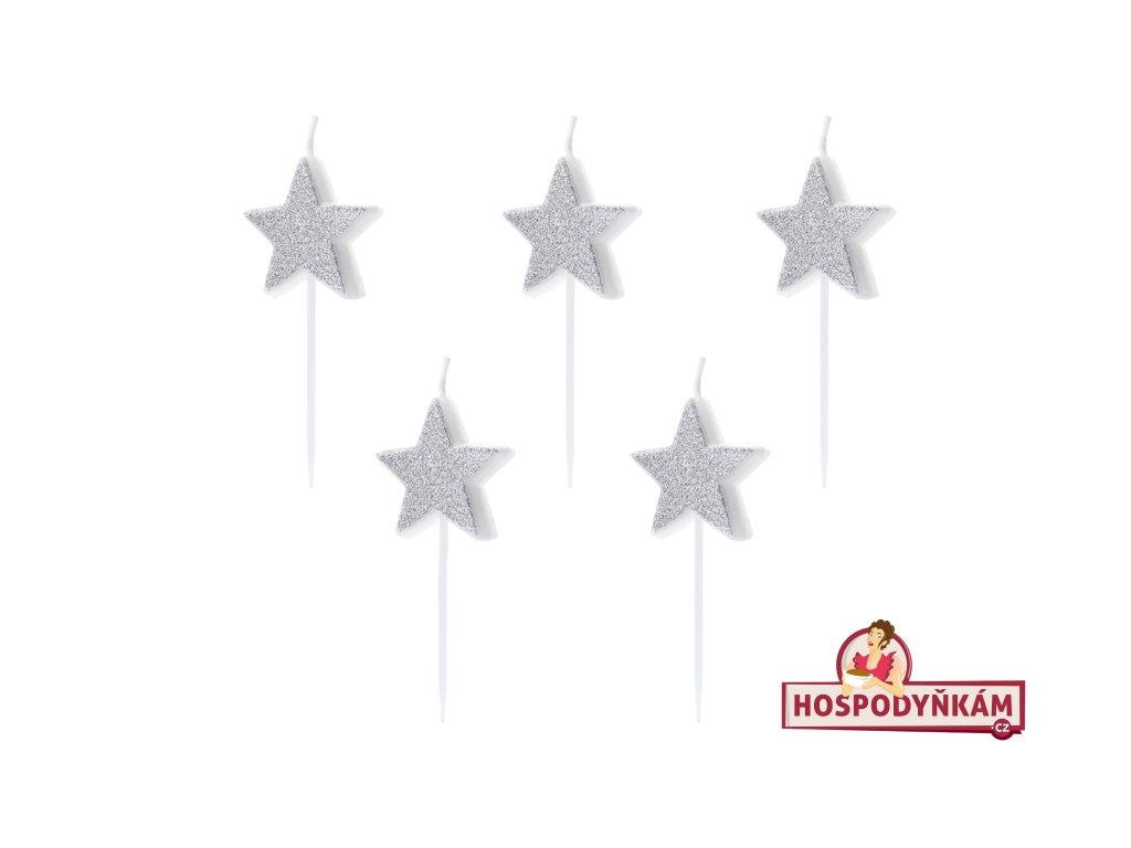 Dortové svíčky stříbrné hvězdy