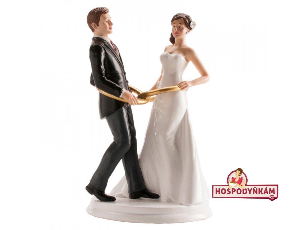 Figurka na dort nevěsta a ženich s kroužky