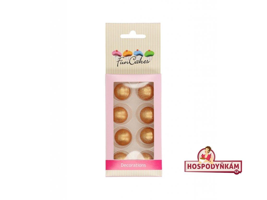FunCakes Čokoládová koule zlatá 8ks