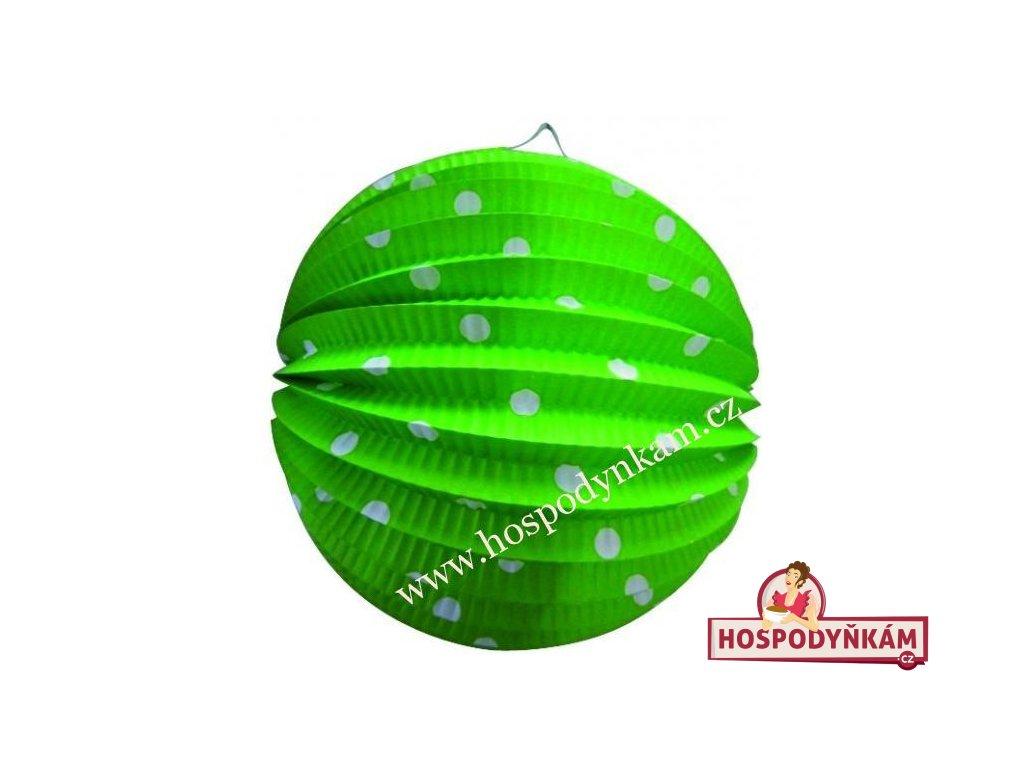 Lampion zelený s puntíky