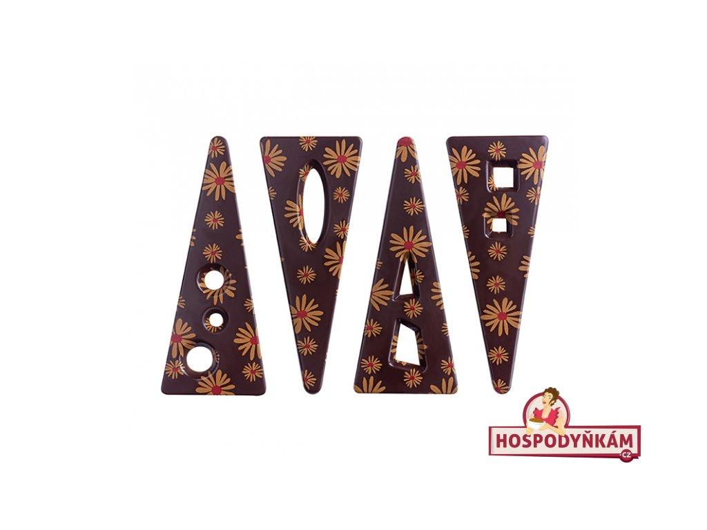 Čokoládová dekorace - trojúhelník kopretiny