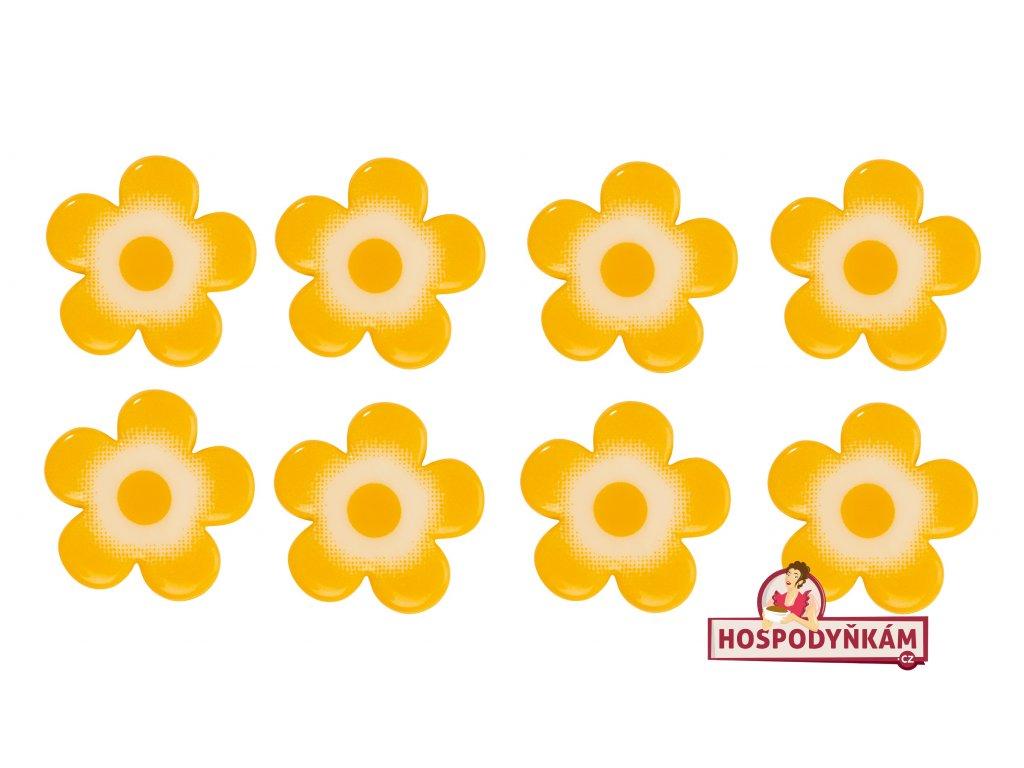 Čokoládová dekorace Kytičky žluté 6ks