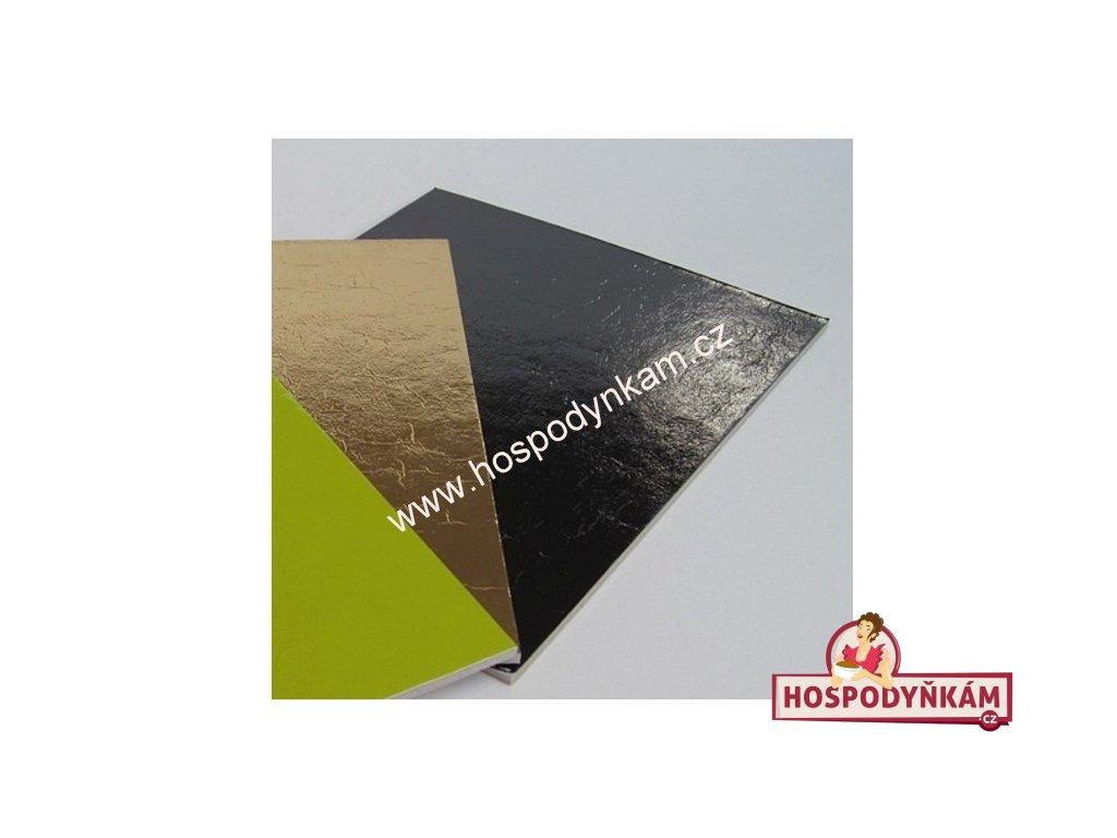 Tác na dort kartonový zlato-černý 25x35cm