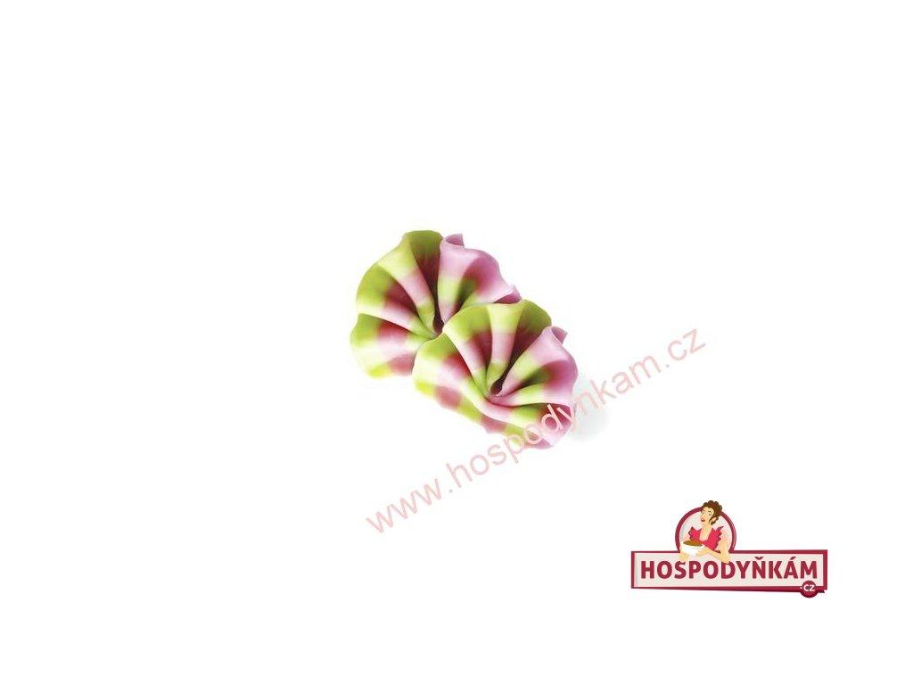 Čokoládová dekorace Vějíř (růžová-zelená) 30g