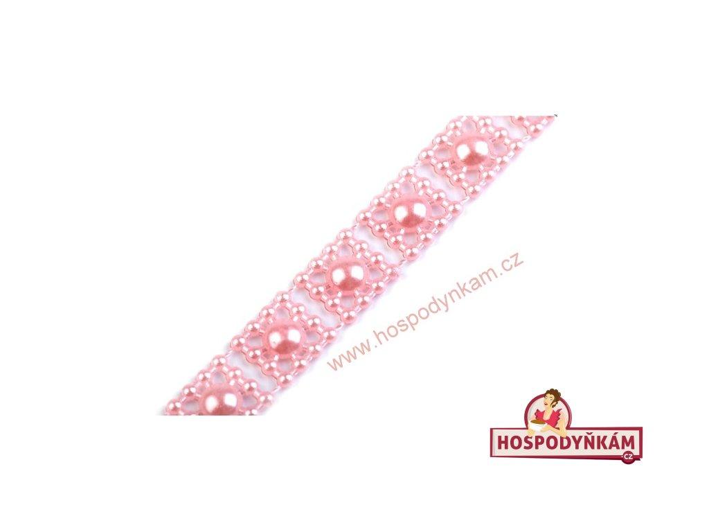 Ozdobný pás na dort růžové perly (3m)