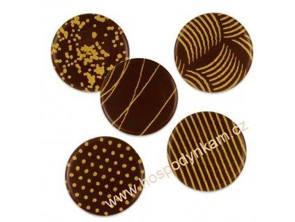 Čokoládová dekorace zlaté ornamenty 10ks